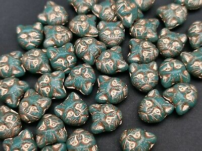 £2.10 • Buy Czech Turquoise Cat Head  Glass Animal Beads 11 Mm Pack Of 10