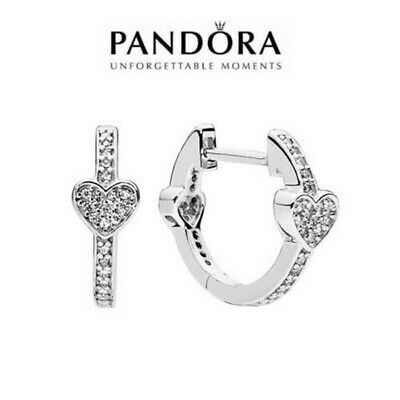 AU17.99 • Buy Pandora Genuine Alluring Hearts Hoop Earrings Sterling Silver S925 ALE AU STOCK