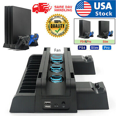 AU38.23 • Buy For PS4 Pro/Slim Vertical Stand + 3 Cooling Fan Controller Charging Dock Station