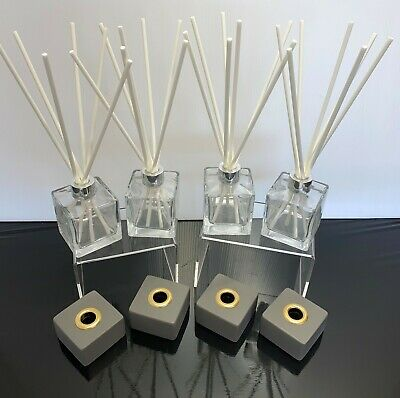 AU14.90 • Buy Pack Of 4 Diffuser Bottles Glass Reed Jars Incl 20 White 200mm Fibre Reeds Free