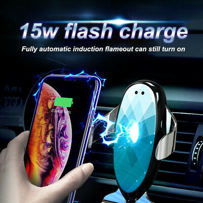 AU12.99 • Buy 15W Automatic Clamped Qi Wireless Car Fast Charger Mount Air Vent Phone Holder