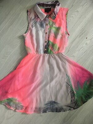£10 • Buy Ruby Rocks Boutique Sleeveless Fit & Flare Dress Pink Tropical Print Uk 10 E1