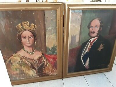 £220 • Buy Two Large Paintings / Portraits By Walter Roberts. Queen Victoria & Albert.