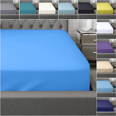 £10.99 • Buy Fitted Sheet Bed Sheets 400TC Egyptian Cotton Single Double King Super King Size