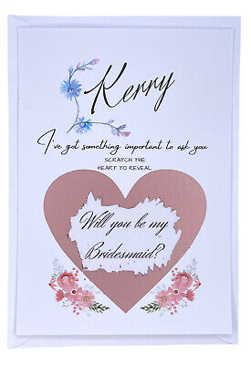 £1.50 • Buy Personalised Will You Be My Bridesmaid, Maid Of Honour Scratch Postcard