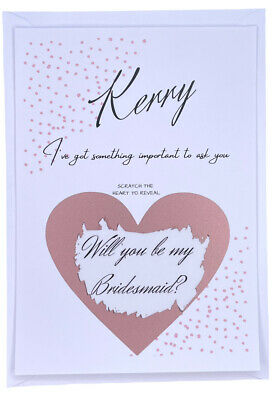 £1.50 • Buy Personalised Will You Be My Bridesmaid Scratch PostCard Bridesmaid