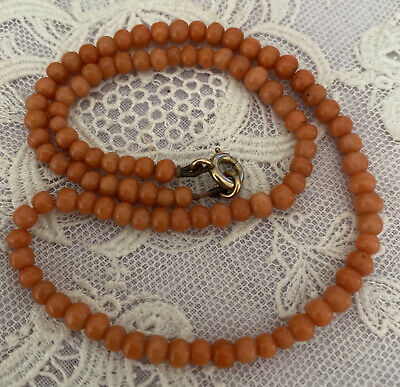 £74.99 • Buy Pretty Antique Childs Length Coral Bead Necklace, C 1900