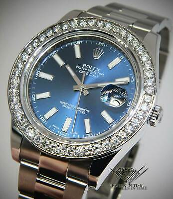 $ CDN13890.57 • Buy Rolex Datejust II Steel Blue Dial Diamond Bezel Mens 41 Watch & Box 116300