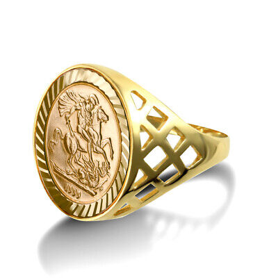 AU292.03 • Buy Jewelco London 9ct Gold St George Dragon Slayer Basket 10th-Krugerrand-Size Ring