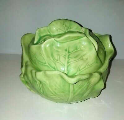 £39.04 • Buy Vtg Majolica Green Cabbage Leaf Lidded  Pottery Soup Bowl  5 Inch Signed