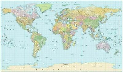 AU17.89 • Buy Laminated World Map Poster Waterproof 91 X 61 Cm With All City Names Educational