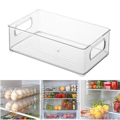 AU12.69 • Buy Stackable Fridge Pantry Organiser Clear Plastic Kitchen Storage Container Holder
