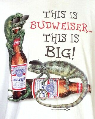 $ CDN74.67 • Buy Vintage 90s Rare This Is Budweiser Beer This Is Big Lizards T-Shirt 1997 Sz XL
