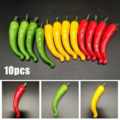 £5.83 • Buy 10x Large Artificial Chillies-Artificial Fruit Vegetables Peppers 3 Colors