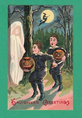 $ CDN24.18 • Buy Vintage E.c. Banks Halloween Postcard Ghost Scares Boys Jol's Witch Broom Moon