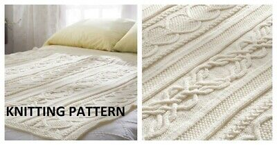 £1.99 • Buy (136) Blanket Throw COPY Knitting Pattern, Gorgeous Cable Design In Aran Yarn