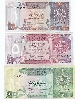 $ CDN12.74 • Buy Qatar, Lot Of 3 Notes (1,5 And 10 Riyals) 1996 -  3rd Issue - Unc. To Very Good