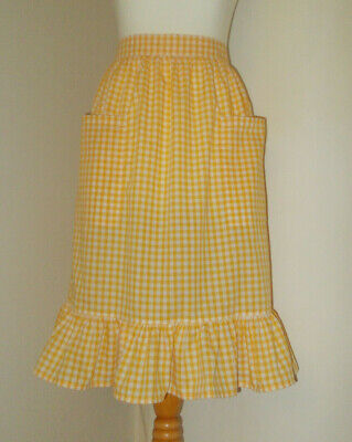 £8.50 • Buy Frilly 'Yellow Gingham' Vintage Style Half / Waist Apron/Pinny