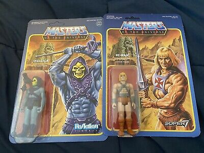$30 • Buy Super 7 MOTU He-Man & Skeletor Masters Of The Universe ReAction Figures Lot