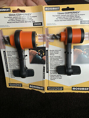 £32 • Buy MONUMENT Copperkey Pipe Cleaning Tool 15mm And 22mm Plumbing Plumbers Tool