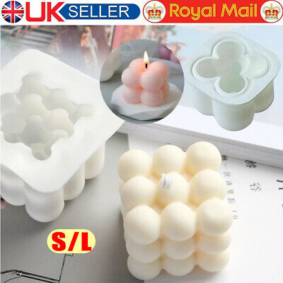 £4.99 • Buy 3D Cube Wax Candle Plaster Mould Silicone Square Bubble Dessert Mold Tools DIY