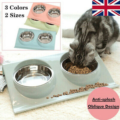 £7.58 • Buy Cat Double Bowls With Raised Stand Pet Food Water Bowl Dog Cat Feeder Pets Bowl*