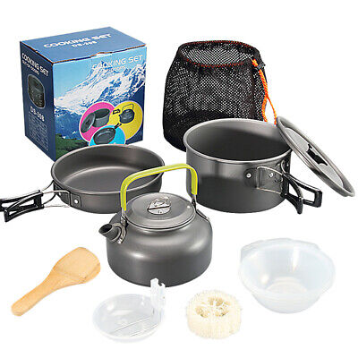 £32.99 • Buy Outdoor Portable Camping Hiking Cookware Picnic Cooking Equipment Pot Pan Kit UK