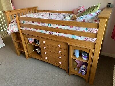 £200 • Buy Julian Bowen Cabin Bed Mid Sleeper With Desk, Cupboard, Drawers And Mattress