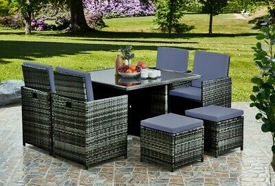 £559 • Buy Cube Rattan Garden Furniture Set Chairs Sofa Table Outdoor Patio Wicker 8 Seater