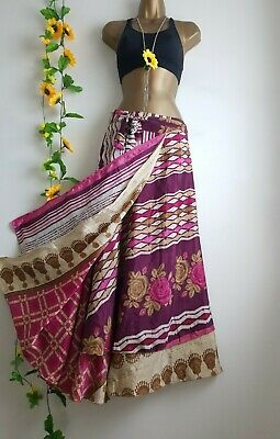 Vintage Waves N Roses Maxi Wrap Skirt Gypsy Hippie Boho Quirky Dress 8 - 24  • 21£
