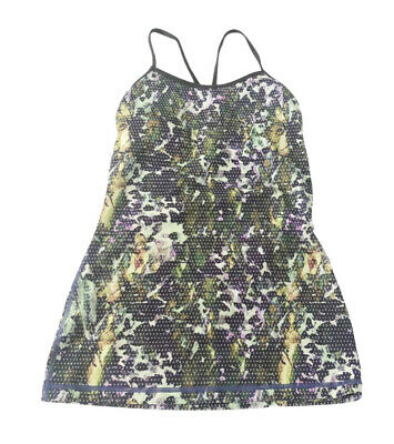 $ CDN19.34 • Buy Lululemon 4 Green Purple Leaf Mesh Print Athletic Tank Top Built In Bra #U516