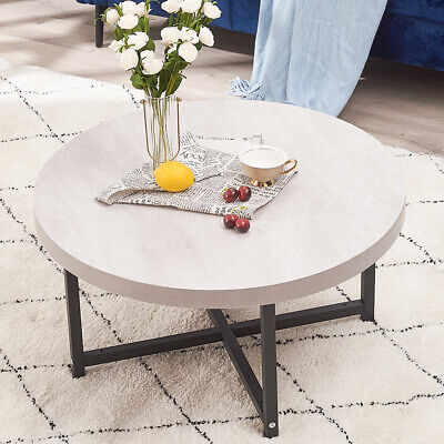 £49.99 • Buy Round Coffee Table Office Pantry Marble Style Tea Table Metal Frame Wooden Top