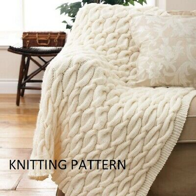 £1.99 • Buy (628) Throw Blanket COPY Knitting Pattern, Cable Design In Chunky Yarn