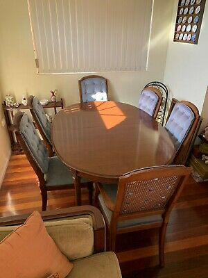 AU67 • Buy Van Treight Dining Suite Oval Table And 6 Chairs / Walnut - Extendable
