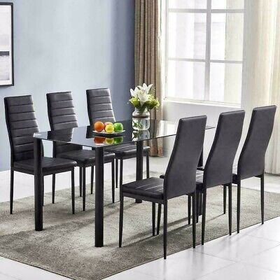 AU107.82 • Buy 7 Pieces Dining Table Black Glass Table And 6 Chairs Faux Leather Dinning Set