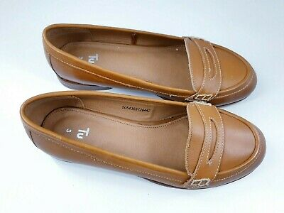 £12 • Buy Tu Size 3 (36) Tan Brown Leather Moccasin Flat Loafers Slip On Ballet Pumps
