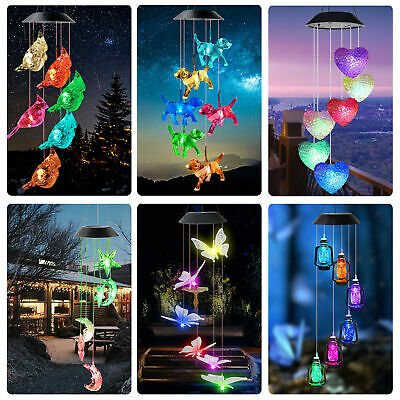 £7.32 • Buy Solar Powered LED Light Hanging Wind Chimes Colour Changing Garden Outdoor Decor
