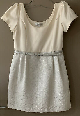 AU19 • Buy Forever New Cream And Silver Dress | Size 16