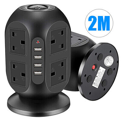 £20.99 • Buy 8 Way Tower Power Extension Lead USB Plug Multi Socket Surge Protected 2M 10A UK