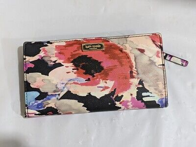 $ CDN49 • Buy Kate Spade Blurry Floral Card Wallet With Zippered Pocket