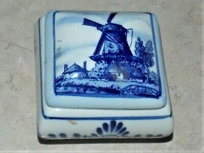 £2.12 • Buy Vintage Windmill Delft Blue White Handpainted Holland Trinket Box E Crown
