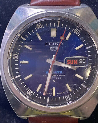 $ CDN99 • Buy Seiko 5 6119-6020 21 Jewels Mens Watch Working Silver Tone Blue Dial 38mm Day