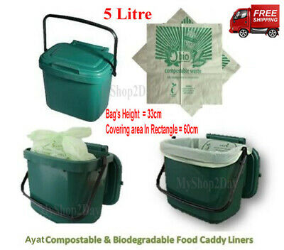 £5.99 • Buy 5L Compostable & Biodegradable Food Caddy Liners,Waste Bin Bio Bags 5 Litre