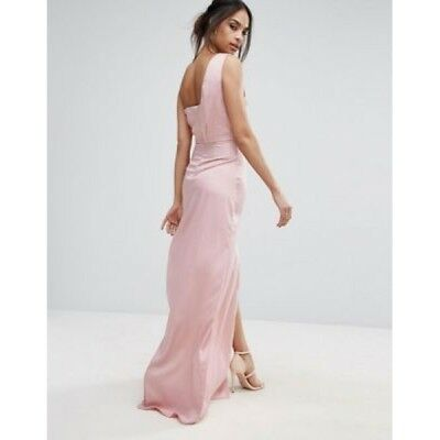 Women's MISSGUIDED Maxi Prom Party One Shoulder Long Dress Size M/L Pink NEW • 3.99£
