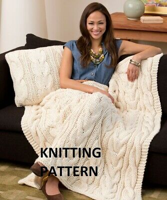 £1.99 • Buy (236) Blanket Throw COPY Knitting Pattern, Cable Design In Aran Yarn