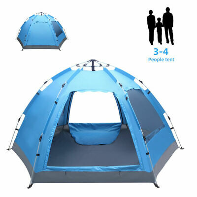 AU144.45 • Buy 3-4 Man Automatic Family Tent Instant Pop Up Waterproof Camping Hiking Outdoor