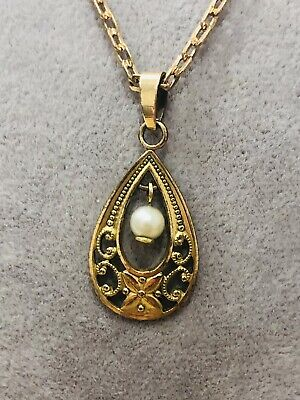 £0.99 • Buy Antique Edwardian Rolled Gold Pendant Necklace 44 Cm Long Rare Collectible 1900