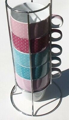 £3.99 • Buy Next Stacking Mugs Cups Polka Dot Spare Replacement Pink Blue & White China