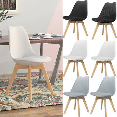 £93.99 • Buy Set Of 4 Kitchen Dining Chairs PU Seat Solid Wood Legs Home Lounge Restaurant