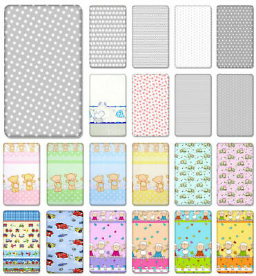 £6.99 • Buy 100% Cotton Fitted Sheet With Printed Design For Baby Crib Cot Cotbed Junior Bed